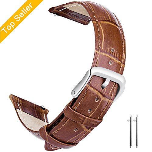 22mm Watch Bands Leather, Vetoo Quick Release Classic Genuine Leather Replacement Watch Strap Wristband for Men and Women (Brown)