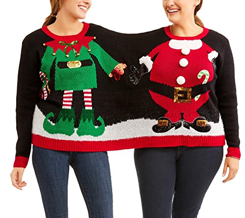 Two Headed Person Costume (Holiday Time Women's Embellished Double Two Person Not Ugly Holiday Christmas Sweater Elf and Santa Claus (Elf/Santa Double,)