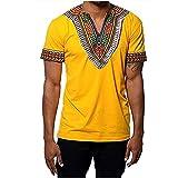 Gtealife Men's African Print Dashiki T-Shirt Tops Blouse (1-Yellow, XL)
