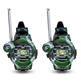 SODIAL(R) 1 Pair LCD Radio 150M Watches Walkie Talkie 7 in 1 Children Watch Radio Outdoor Interphone Toy (Color: Green)
