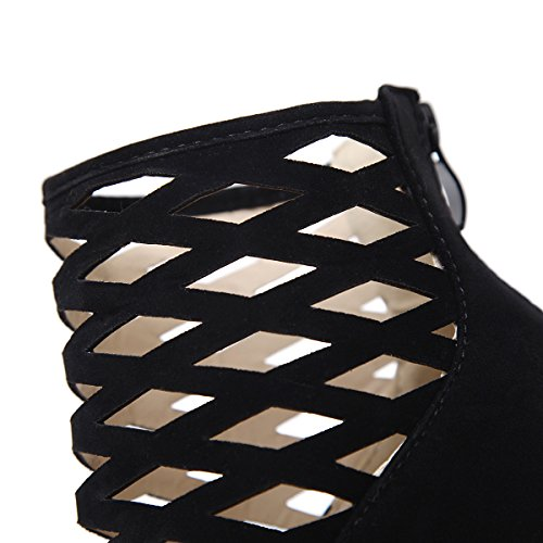 ZHZNVX Exposed cold boots high-heeled boots street shot of cool exposed 16 cm high-heeled boots are cool Black 9Hr8M3S1
