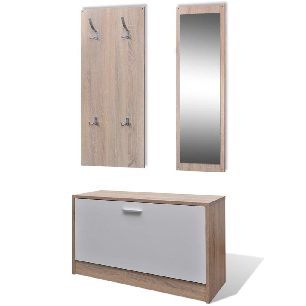 vestiaire dentre 3 lments en bois blanc et aspect chne