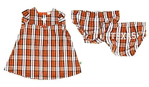 Concepts Sport Texas Longhorns NCAA Little Girls Toddler Campus Plaid Dress Set, Burnt Orange