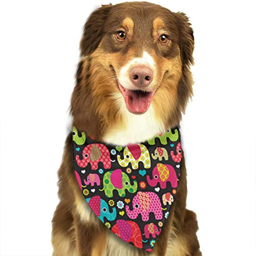 OURFASHION Colorful Elephant Parade Bandana Triangle Bibs Scarfs Accessories for Pet Cats and Puppies.Size is About 27.6x11.8 Inches (70x30cm).]()