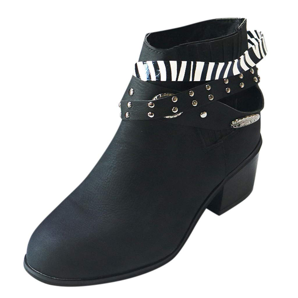 Women Western Ankle Boots | Ladies Fashion Metal Studded Stacked Heel Boot | Vintage Round Toe Elastic Slip On Short Booties by Leadmall-Boot