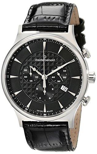 Claude Bernard Men's 10217 3 NIN Classic Dress Chronograph Analog Display Swiss Quartz Black Watch