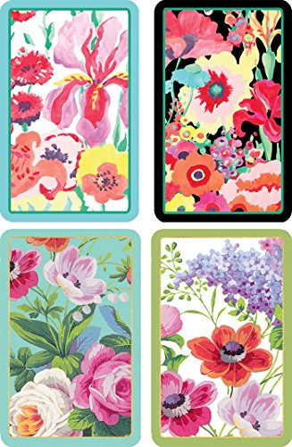 (Caspari Entertaining with Bundle of 2 Double Decks of Bridge Playing Cards, Jumbo Type (Secret Garden & Edwardian)