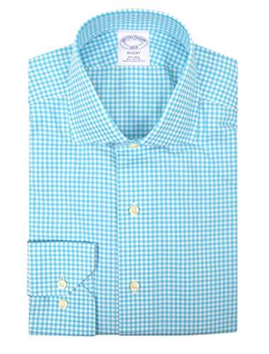 Brooks Brothers Mens Regent Fit Non Iron 100% Cotton Dress Shirt Teal Blue White Gingham Plaid (15