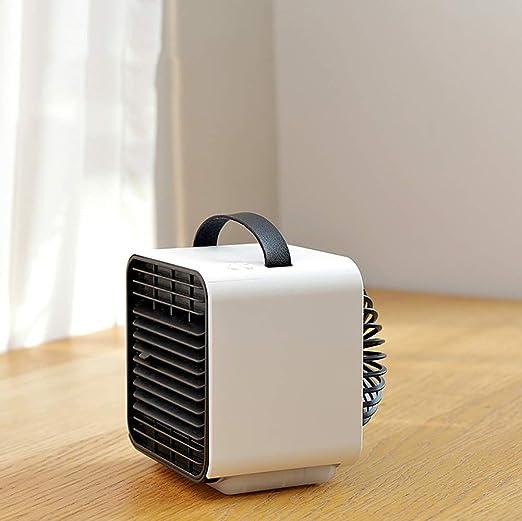KTLF-LEI Aire Acondicionado Port/átil-Climatizador Evaporativo 3-en-1 Mini Ventilador Humidificador Purificador de Aire USB Aire Acondicionado Oficina del Dormitorio,Black