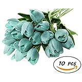 Winterworm PU Latex Real Touch Artificial Mini Cute PU Tulip Flower Wedding Bridal's Bouquets Wedding Home Table Decoration (Blue Green)