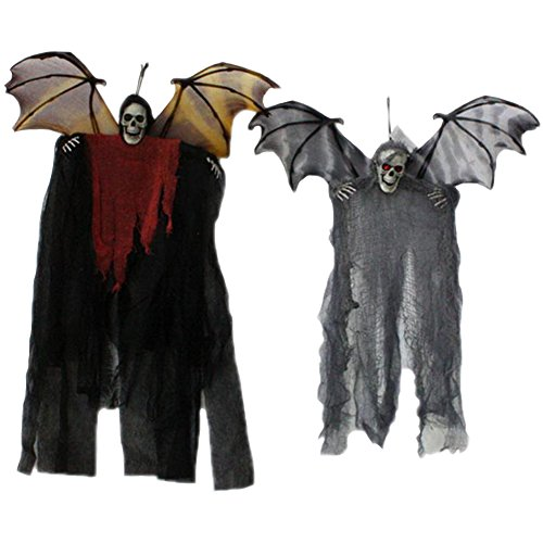 Halloween Hanging Ghost Haunted House Decoration - Great for Haunted Houses, Home Decor, Lawn Decor and Backyard Parties 2pcs(Black&Grey-One (Costume Halloween Santa Muerte)