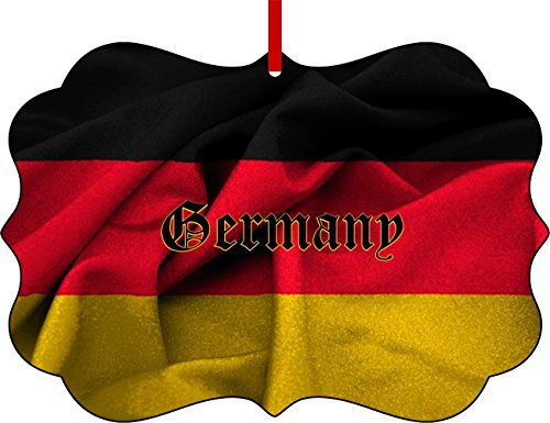 German Flag-Germany-Benelux Aluminum Christmas Ornament with a Red Satin Ribbon/Holiday Hanging Tree Ornament/Double-Sided Decoration/Great Unisex Holiday Gift! - German Ribbon
