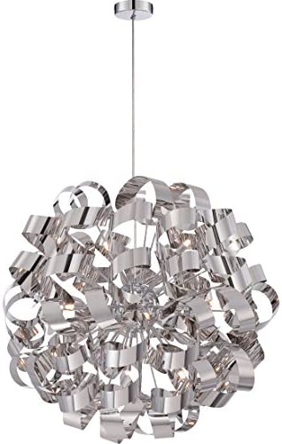 Quoizel RBN2831C Ribbons Curved Metal Foyer Pendant Ceiling Lighting, 12-Light, Xenon 480 Watts, Polished Chrome 31 H x 31 W