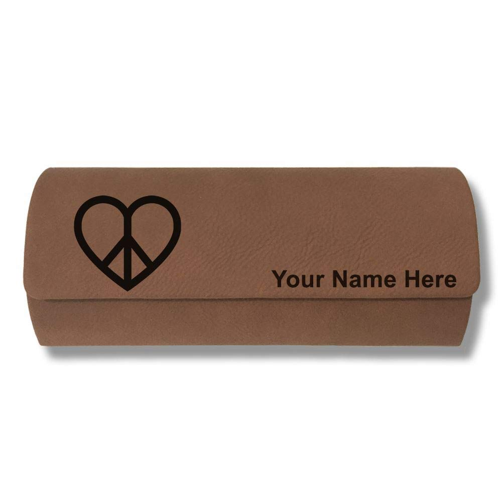 Sunglass Case, Peace Love Heart, Personalized Engraving Included (Dark Brown)