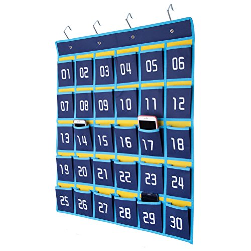 HBlife Numbered Classroom Pocket Chart Cell Phones Holder Wall Door Hanging Organizer (30 (Calculator Pocket Storage)