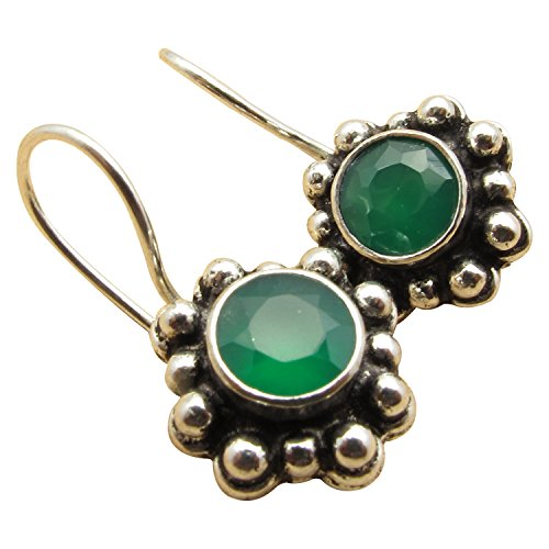 Green Earrings Onyx (ETHNIC Earrings !! 925 Sterling Silver Plated Cut GREEN ONYX Antique Style FIX WIRE Ear Jewelry)