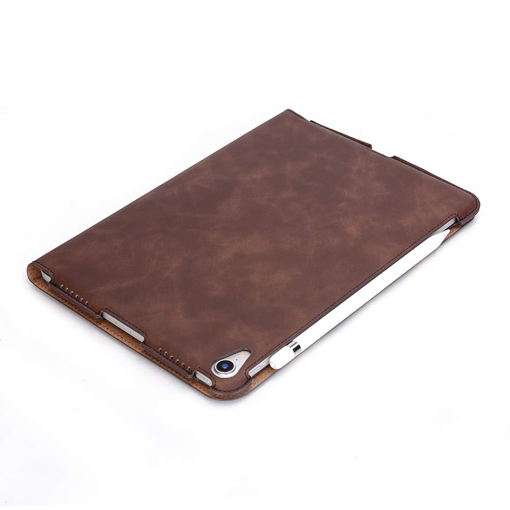 TechCode iPad Pro 11 inch Case 2018, Premium PU Leather Smart Stand Case Slim Fit Cover with Card Slots & Hand Strap(Support 2nd Gen iPad Pencil Charging) Sleeve for iPad Pro 11 inch 2018, Dark Brown by TechCode (Image #7)