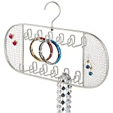 mDesign Hanging Jewelry Organizer for Closet Storage - 22 Hooks, Satin