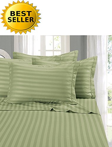 Elegant Comfort Super Silky Soft - 1500 Thread Count Egyptian Quality Luxurious Wrinkle, Fade, Stain Resistant 6-Piece STRIPE Bed Sheet Set, Queen Green ()