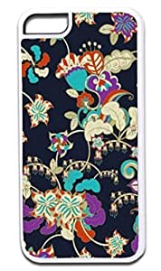 02-Classic Flower Pattern- Case for the APPLE IPHONE 5c ONLY!!! -Hard White Plastic Outer Case with Tough Black Rubber Lining Kimberly Kurzendoerfer