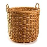 The Basket Lady Round Wicker Storage Basket, X-Large, Toasted Oat