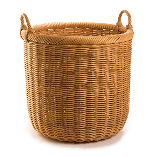 The Basket Lady Round Wicker Storage Basket, X-Large, Toasted Oat (Finish Shade Wicker)