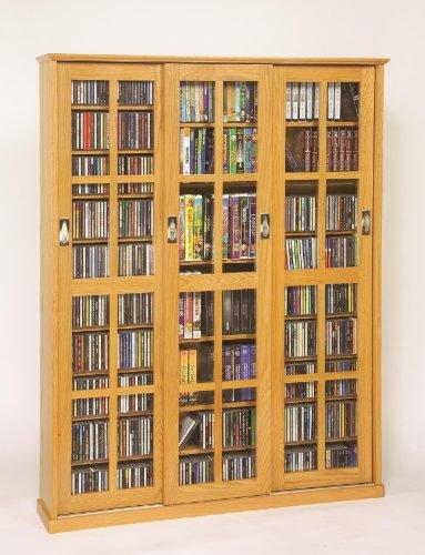 """Leslie Dame 61"""" Triple CD DVD Wall Media Cabinet in Oak"""