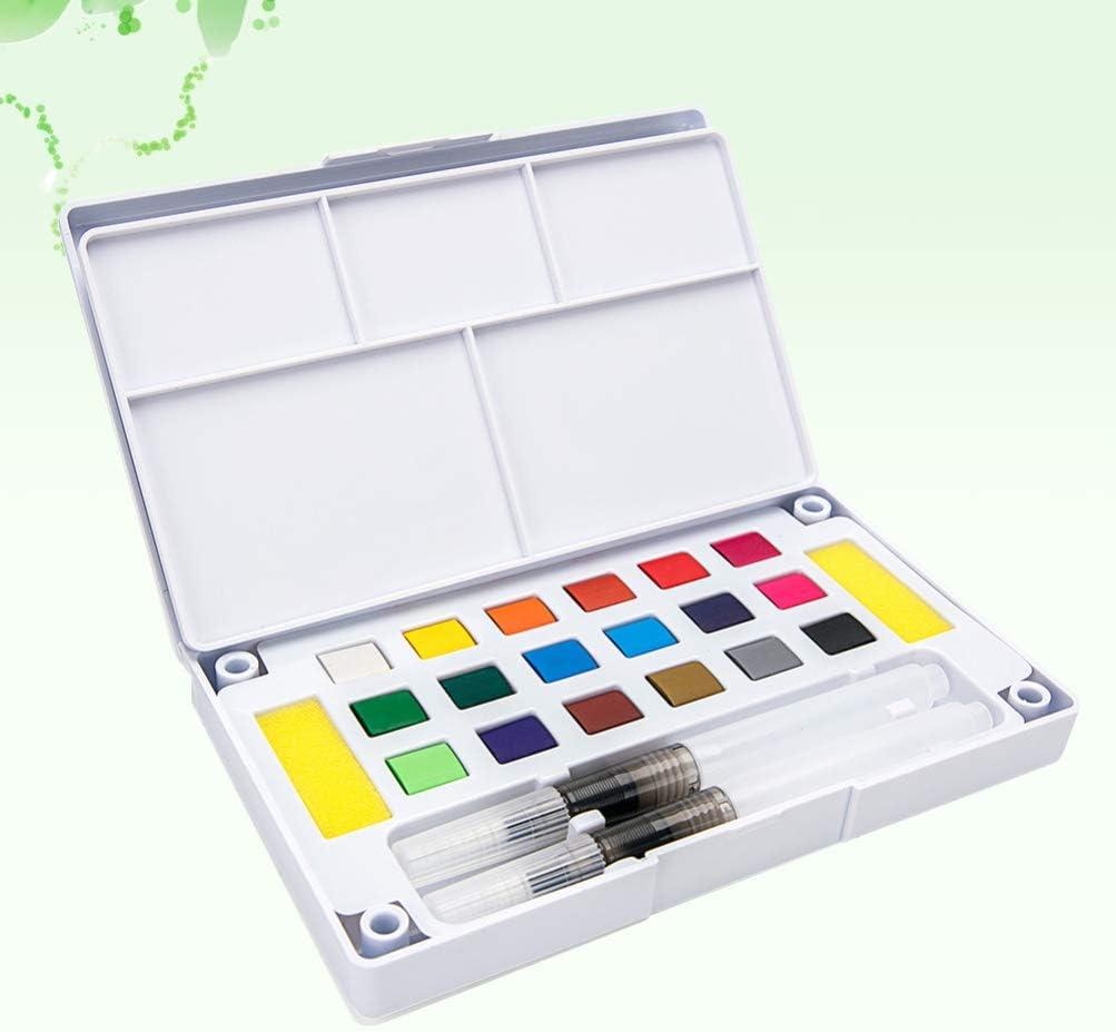 HEALLILY Conjunto de Pintura de Acuarela 18 Colores Vibrantes Surtidos en Caja de Lata Paleta de Acuarela con Pincel de Agua para Ni/ños Artistas Adultos Pintura de Arte