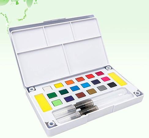 HEALLILY Conjunto de Pintura de Acuarela 18 Colores Vibrantes ...