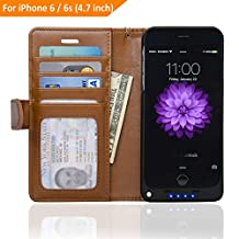 4.7-inch iPhone 6 Folio PU Leather Wallet Power Battery Case 3200 mAh - Navor (Brown)