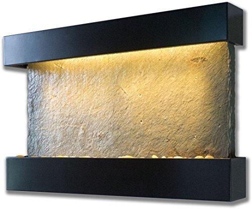 Bluworld Verdigris Horizontal Wall Fountain with Black Onyx Frame by Bluworld Fountains