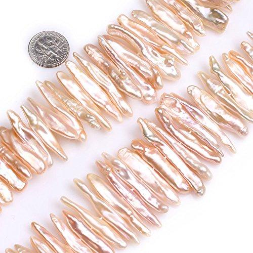 Biwa Gem Pearl - GEM-Inside Pink Stick Point Biwa Pearls Gemstone Loose Beads Natural 11x39mm Energy Stone Power for Jewelry Making 15''