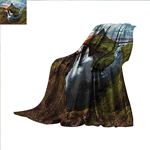 smallbeefly Landscape Digital Printing Blanket Waterfall Landscape at Iceland Sunset Mountain Volcanic Area Natural Beauty Theme Summer Quilt Comforter 50