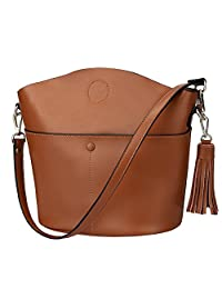S-ZONE Women's Cowhide Genuine Leather Small Purse Handbag Crossbody Shoulder Bag (Brown)