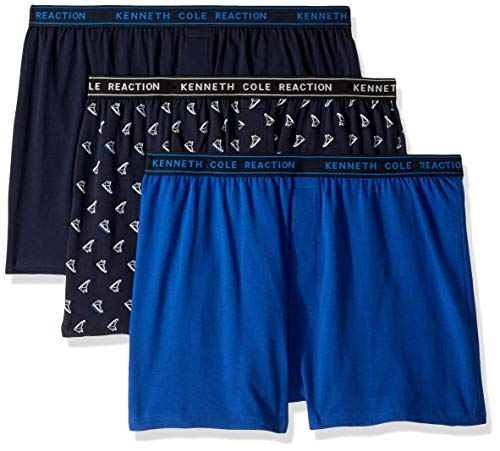 Kenneth Cole REACTION Men's Knit Boxer Underwear, Multipack, Navy, Royal, Logo - 3 Pack, ()