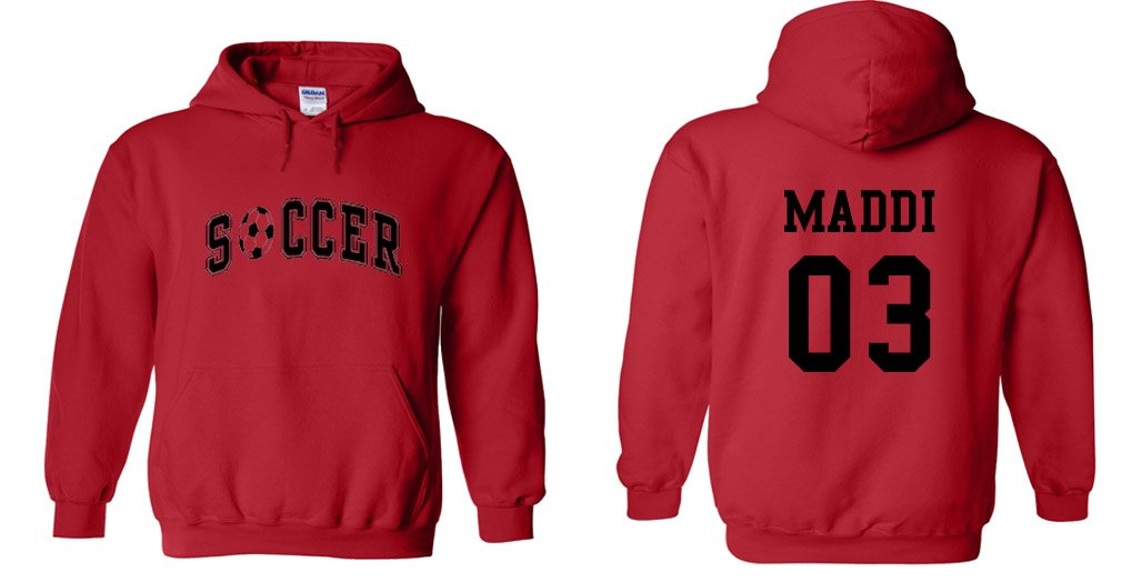 カスタムSoccerパーカー B01M0SW7XS Youth Large 14/16|Red-Black Print Red-Black Print Youth Large 14/16