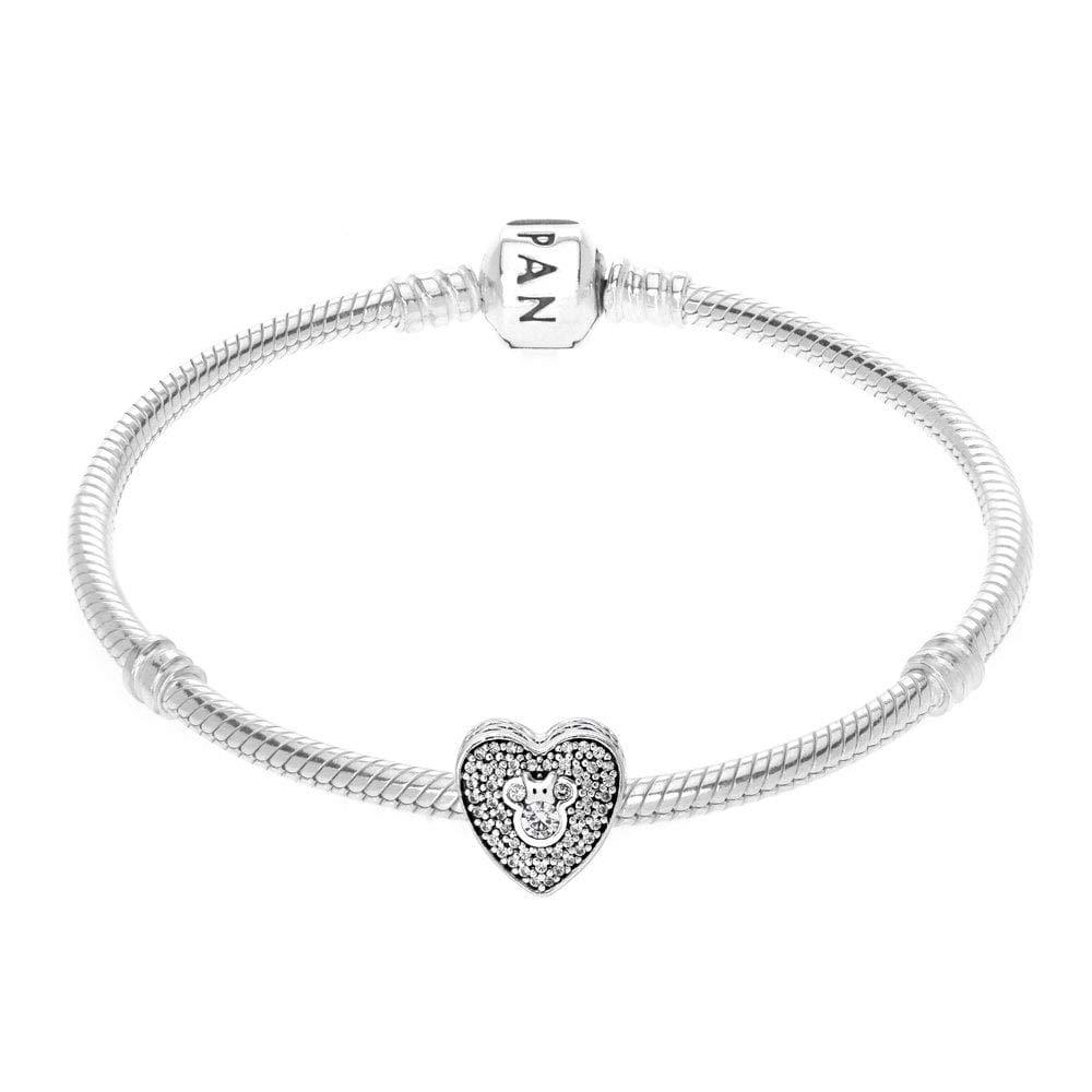 926cca9e7 Amazon.com: PANDORA Disney, Mickey & Minnie Sparkling Heart Charm 792049CZ:  Jewelry