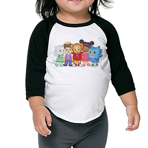 Daniel Tiger's Neighborhood Raglan T Shirt Toddler Cotton 3/4 Sleeve Kids Cute ()