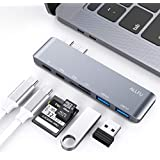"ALLFU USB C Hub, Multiport Type C Hub Aluminum Thunderbolt 3 6-in-1 Type-C Hub Adapter for 2016/2017/2018 MacBook Pro 13""and 15"", Type C 3.1 Charging Port with 2X USB 3.0,Micro SD/SD Card Reader-Gray"