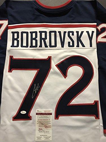 Autographed/Signed Sergei Bobrovsky Columbus Blue Jackets White Hockey Jersey JSA COA