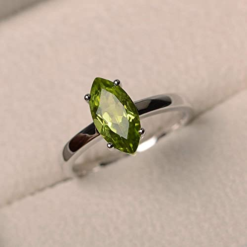 Peridot rings for women Marquise cut gemstone ring Sterling Peridot Ring promise ring Sterling Silver and Genuine Peridot lustrous green