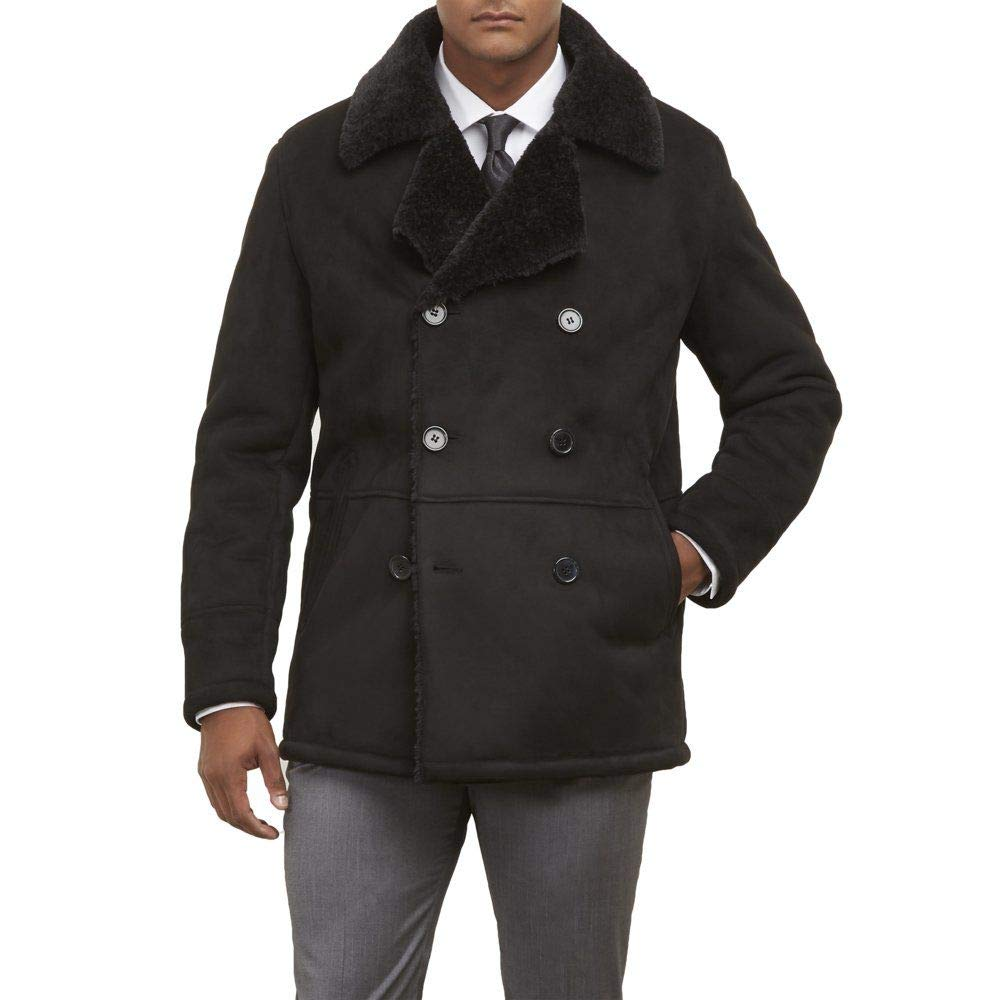 Kenneth Cole New York Mens Double Breasted Faux Shearling Jacket w//Notch
