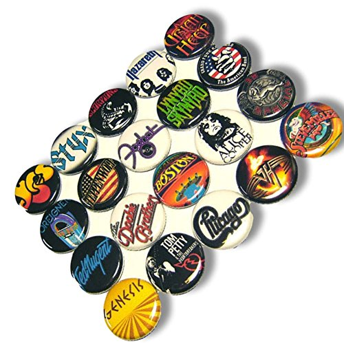 "Price comparison product image Custom & Novelty {1"" Inch} 20 Bulk Pack, Mid-Size Button Pin-Back Badges for Unique Clothing Accents, Made of Rust-Proof Metal w/ 1970s Rock n Roll Singers Different Set Bands Styles [Multicolor]"