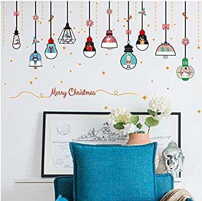 Christmas Wall Decals Removable.Diy Merry Christmas Wall Stickers Decoration Santa Claus
