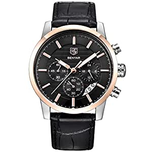 BENYAR Chronograph Waterproof Watches Business and Sport Design Black Leather Band Strap Wrist Watch for Men (L Rose Gold Black B)