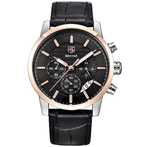 (BENYAR Chronograph Waterproof Watches Business and Sport Design Black Leather Band Strap Wrist Watch for Men (L Rose Gold Black B) )
