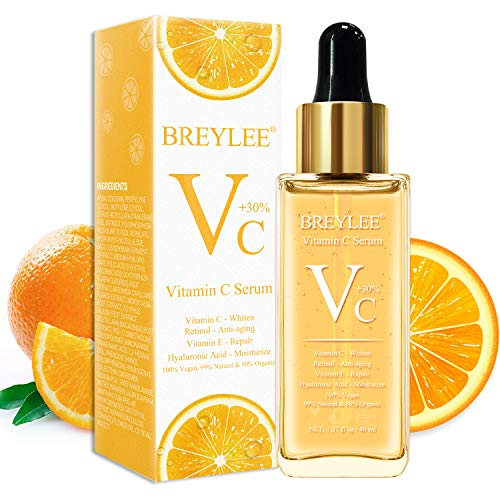 Vitamin C Serum, Breylee Anti-Aging Facial Serum with Hyaluronic Acid, Retinol, and Vitamin E Moisturizing Face Serum for Skin Whiten Skin Brighten, Fades Age Spots and Sun Damage (40ml, 1.37oz)