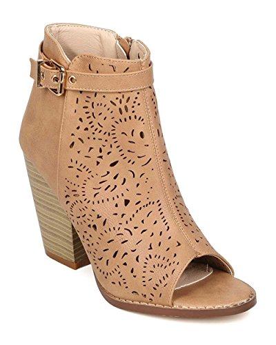 Nature Breeze EI13 Women Leatherette Peep Toe Perforated Chunky Heel Bootie - Beige