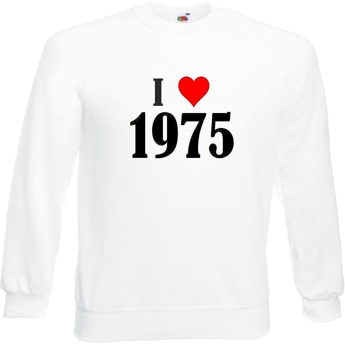 Reifen-Markt Chandail Sweat-Shirt I Love 1975 pour Les Hommes Femmes et Enfants in Blanc Le Cadeau de No/ël id/éal