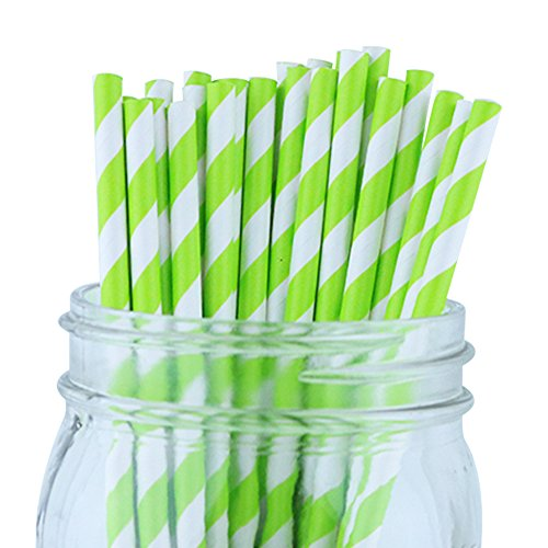 Just Artifacts Decorative Striped Paper Straws (100pcs, Striped, Kiwi)